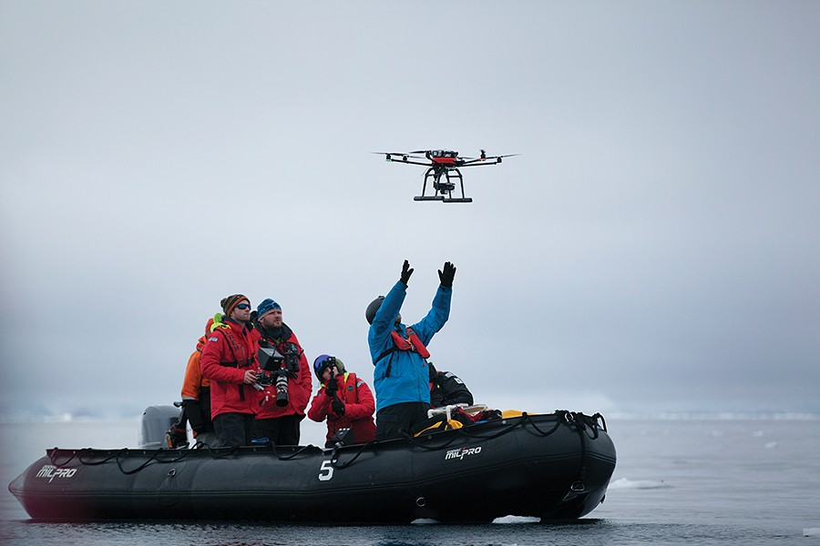 From acoustic monitoring to crossbow biopsies, researchers from UC-Santa Cruz use a variety of technologies to document how marine mammals are impacted by climate change. To study whale populations, the team often employs a custom-designed drone featuring photogrammetry equipment allowing them to study the health of animals from the air. - PHOTO BY MADELINE COTTINGHAM