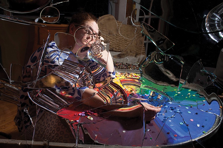"""""""Roberta and the Button Wheel,"""" from the """"Pieces"""" series. - SETH DAVID RUBIN"""