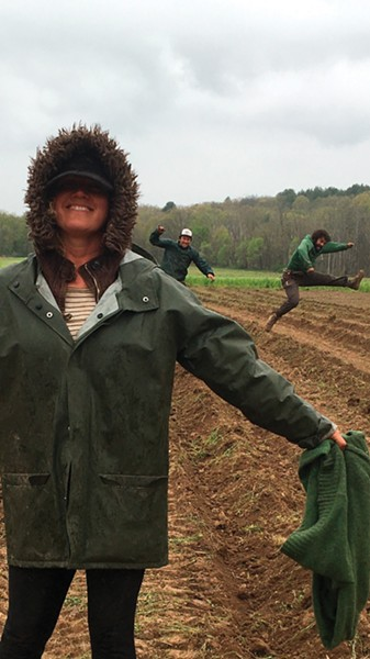 Aileah Kvashay planting potatoes at Clove Valley CSA, in collaboration with Back Home Farm.