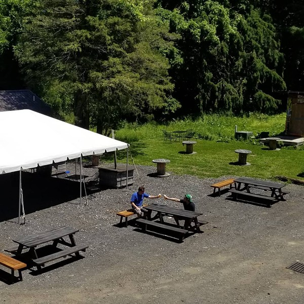 Socially distanced picnic tables at Obercreek Brewing Company in Wappingers Falls.