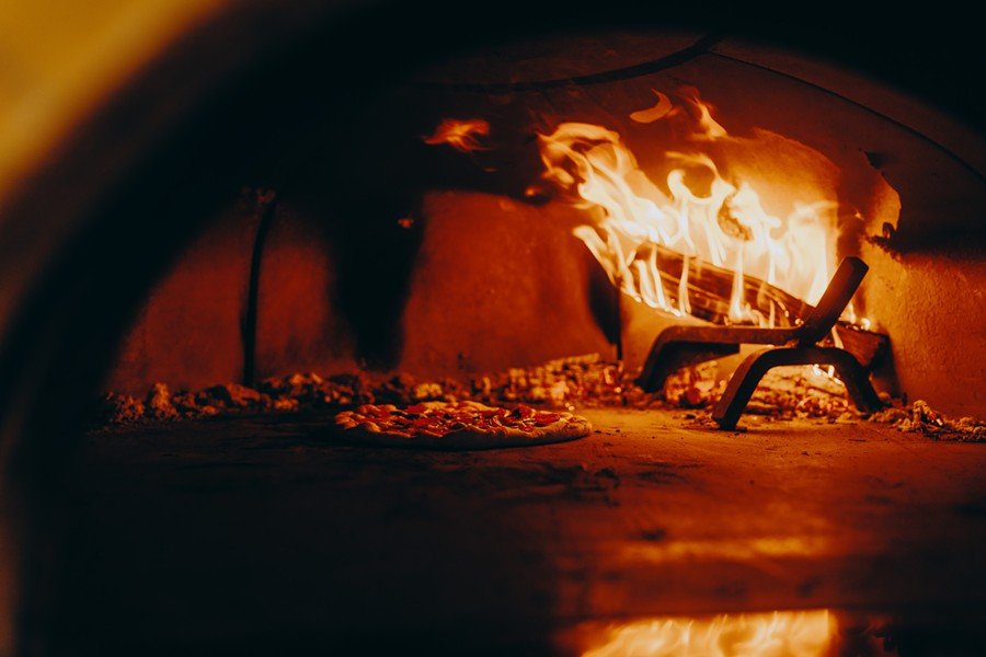 A peak inside the Ollie's oven in High Falls. - JOSH GOLEMAN FOR OLLIE'S PIZZA