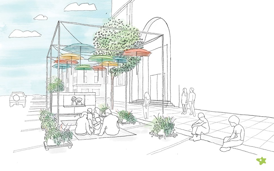 Starr Whitehouse Landscape Architects and Planners submitted a proposal for an Imagination Pavilion—a kit of parts to assemble an urban space for creativity.
