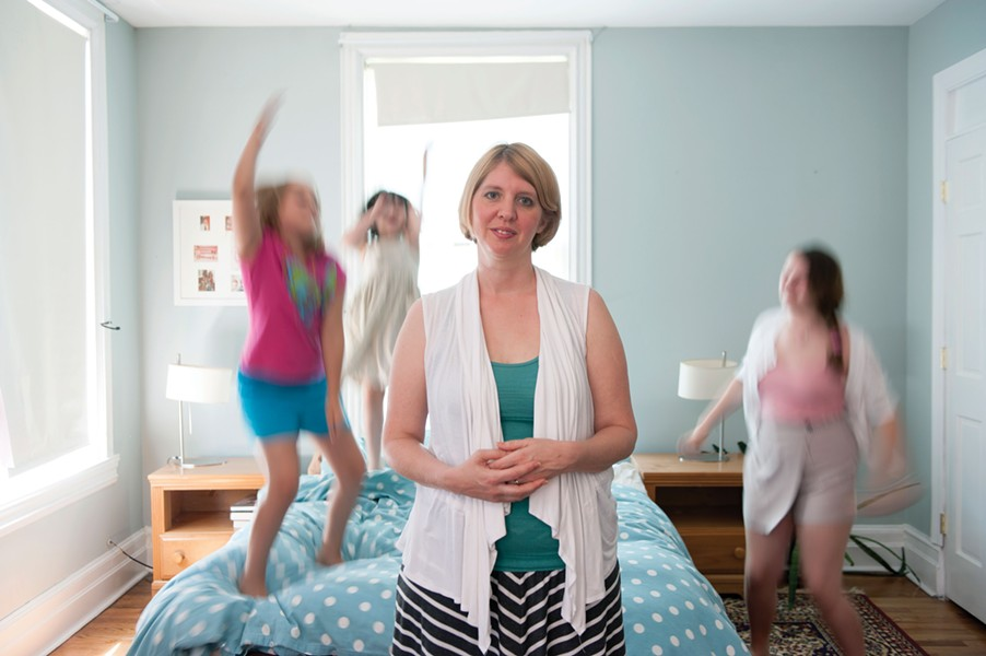 Beth Anspach at home with her kids and her kids' friend. - HILLARY HARVEY