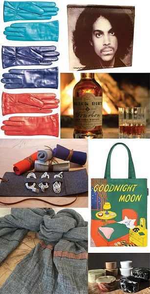 Clockwise from top right: Prince leather wallet from Tender Land Home in Phoenicia, Bourbon from Black Dirt Distillery, Goodnight Moon tote bag from The Golden Notebook, stone keepsake boxes from Hudson Home, linen scarves by Libeco from Hudson Home, handmade felt pouches from Rural Residence in Hudson, Paper Trail's wool-lined leather gloves from Hestra in Sweden.