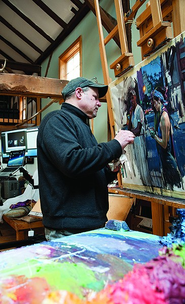 Garin Baker painting in his studio - DEBORAH DEGRAFFENREID