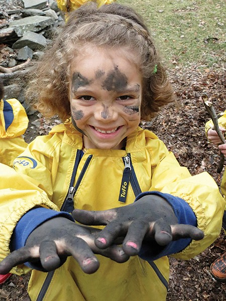 There are no limits to how dirty one can get during playtime outside at the Randolph School.