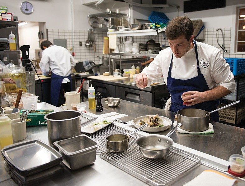 Michael Kelly in the kitchen at Liberty Street Bistro in Newburgh - CHRISTINE ASHBURN