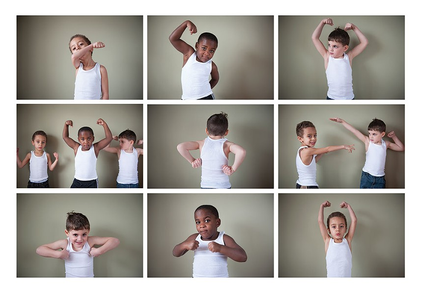 "Preschooler's Logan, Judah, and Iggy flex their ""guns"". Boys are often taught that their bodies are weapons. - HILARY HARVEY"