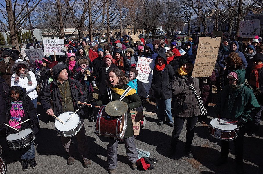 Megan Quinn (on bass drum) leads Tin Horn Uprising at the People's March for Education Justice on March 4 at Academy Green Park in Kingston. - FIONN REILLY