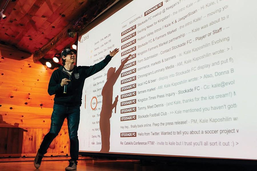 Foursquare founder Dennis Crowley presenting at the 2016 Catskills Conf. - TOM EBERHARDT-SMITH