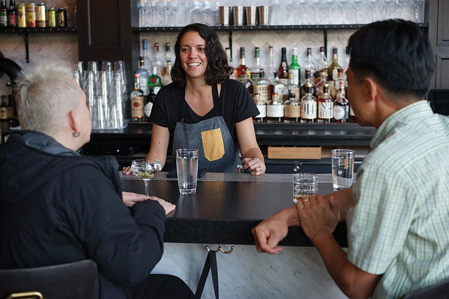Bartender Jessica Gonzalez and patrons Kim Heller and Matt Kim at Heritage Food & Drink in Wappingers Falls. - JOHN GARAY
