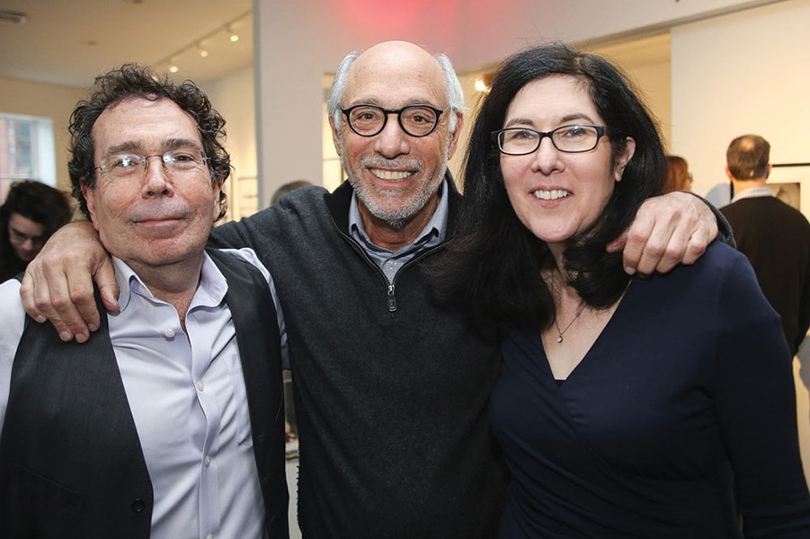Photographer Aaron Rezny, gallerist Howard Greenberg, and Center for Photography at Woodstock Executive Director Hannah Frieser at the opening reception.