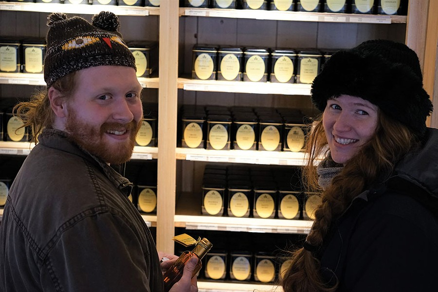 Redheads in love, James Smith and Megan Mooney at Harney and Sons' Millerton shop. - JOHN GARAY