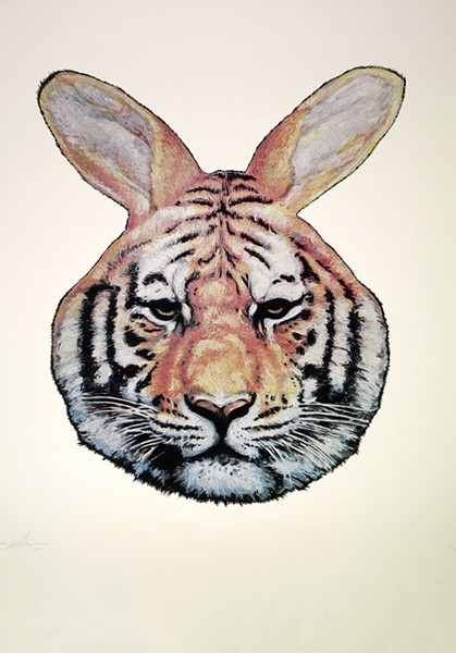 Tiger Rabbit, a screenprint by Gaia