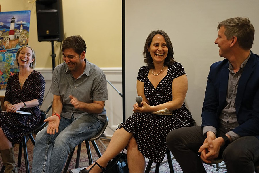 Helene Lesterin, Johnny LeHane, March Gallagher, and Matt Stinchcomb in panel discussion. - JOHN GARAY