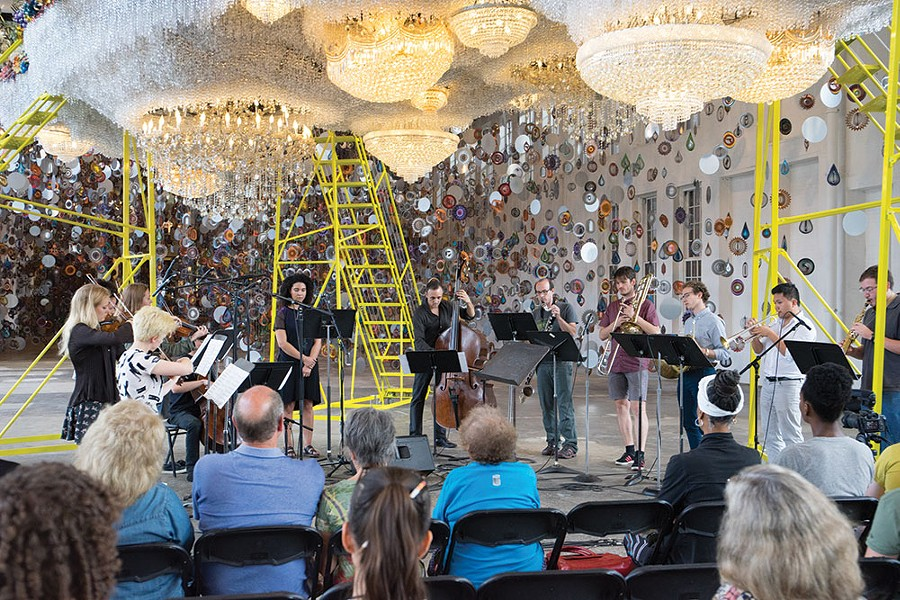 Bang on a Can perform within Nick Cave's installation Until at MASS MoCA in 2017.