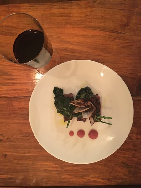 Akaushi beef, red radish fluid gel, compressed broccoli leaf, double Worcestershire - MARIE DOYON