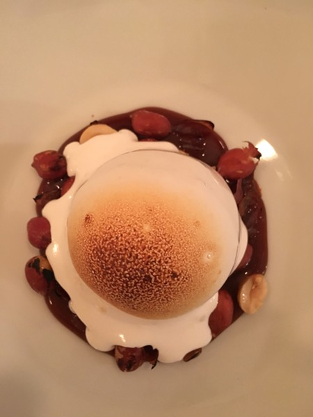 Mascarpone ice cream sundae with salted caramel, red Spanish peanut, and marshmallow fluff - MARIE DOYON