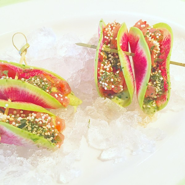 Tuna Tartare wrapped in Watermelon Radish with Furikake, Avocado, Ponzu & Sambal.
