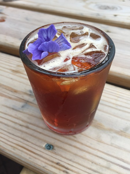 La—A is made with mezcal, chicory root, strawberry cucumber shrub, grapefruit, and lemon. - BRIAN K. MAHONEY