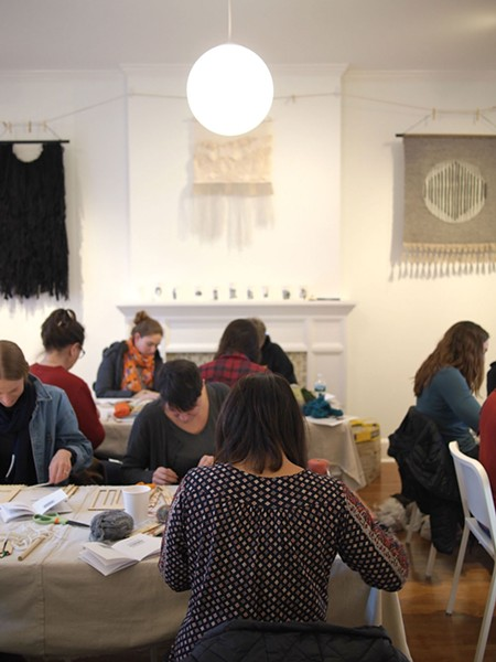 Weaving workshop with Kat Howard at Drop Forge and Tool in Hudson.