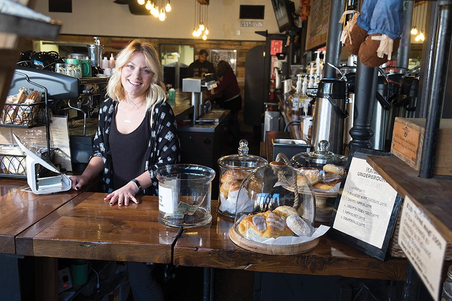 Owner Erin Intonti behind the bar at Underground Coffee & Ales in Highland. Underground is minutes away from the Walkway Over the Hudson and the Hudson Valley Rail Trail, which bring streams of cyclists to the spot in warmer weather.