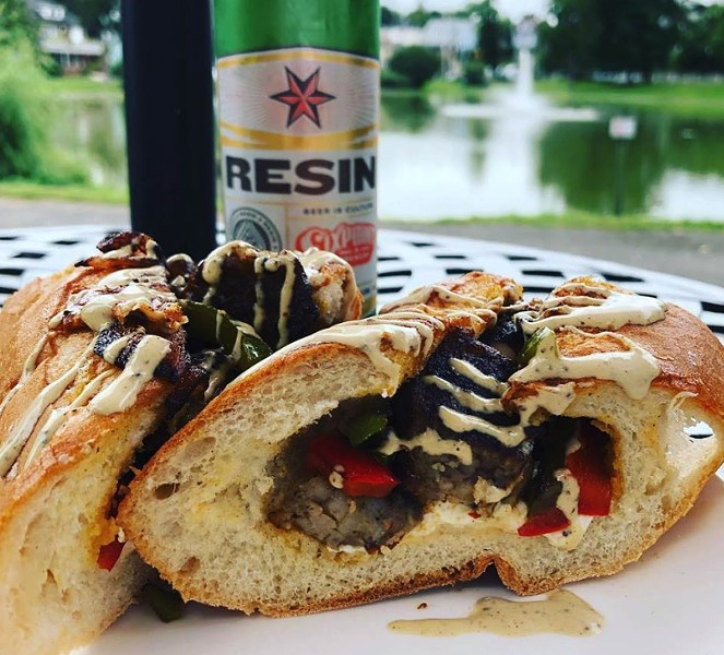 A happy hour-only treat: Sausage and peppers sandwich.