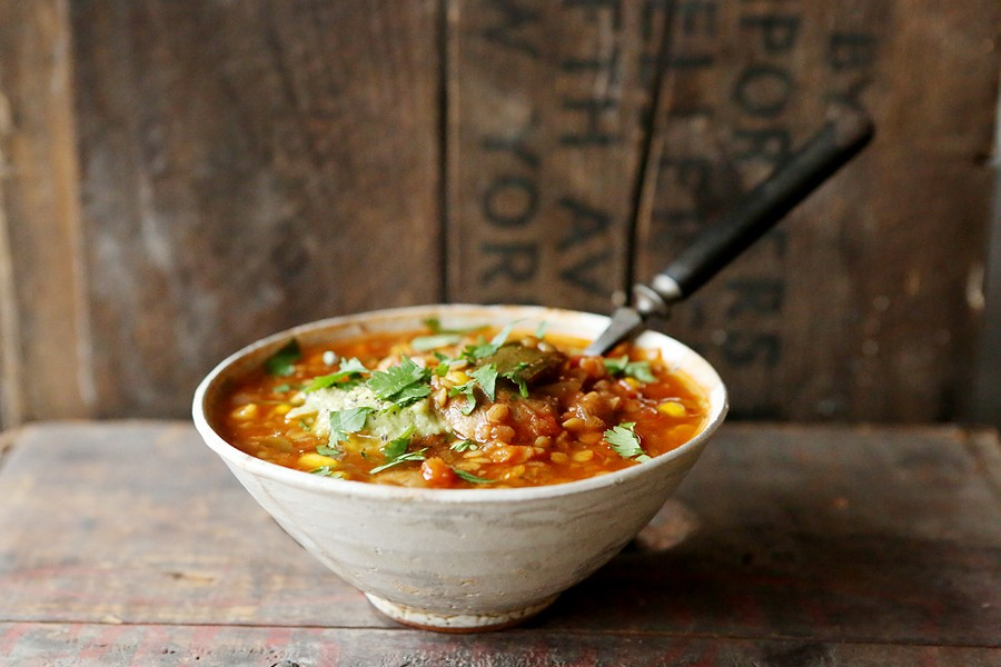 Poblano Chili Soup, made with red lentils