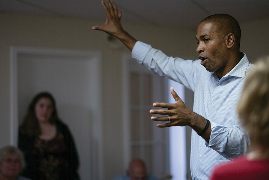 Congressman-elect Antonio Delgado on the campaign trail in Oneonta on September 8, 2018. - STACEY ESTRELLA
