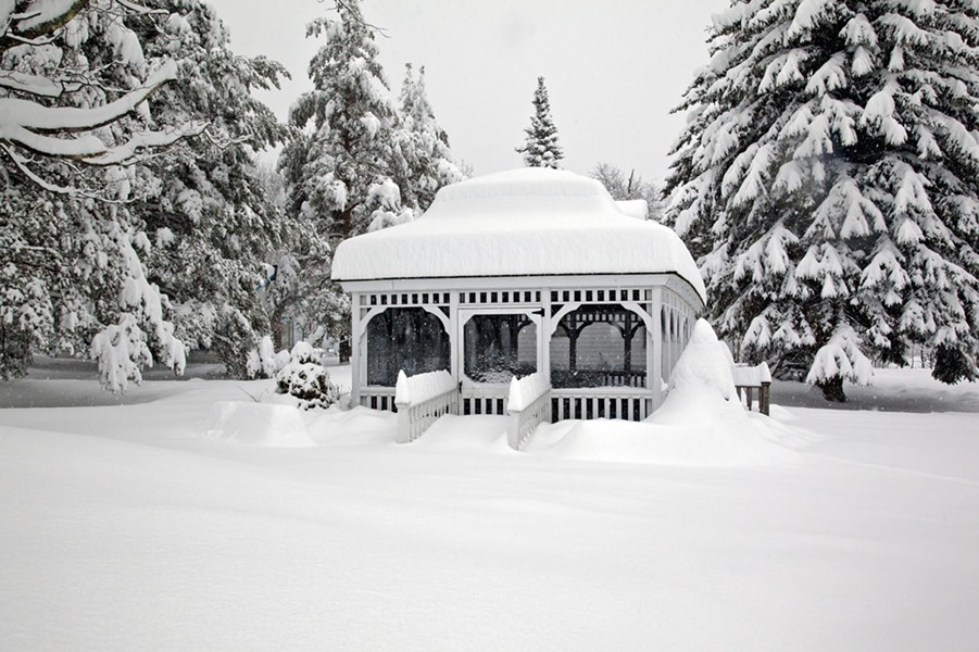 The Villa Vosilla gazebo after an epic snowfall.