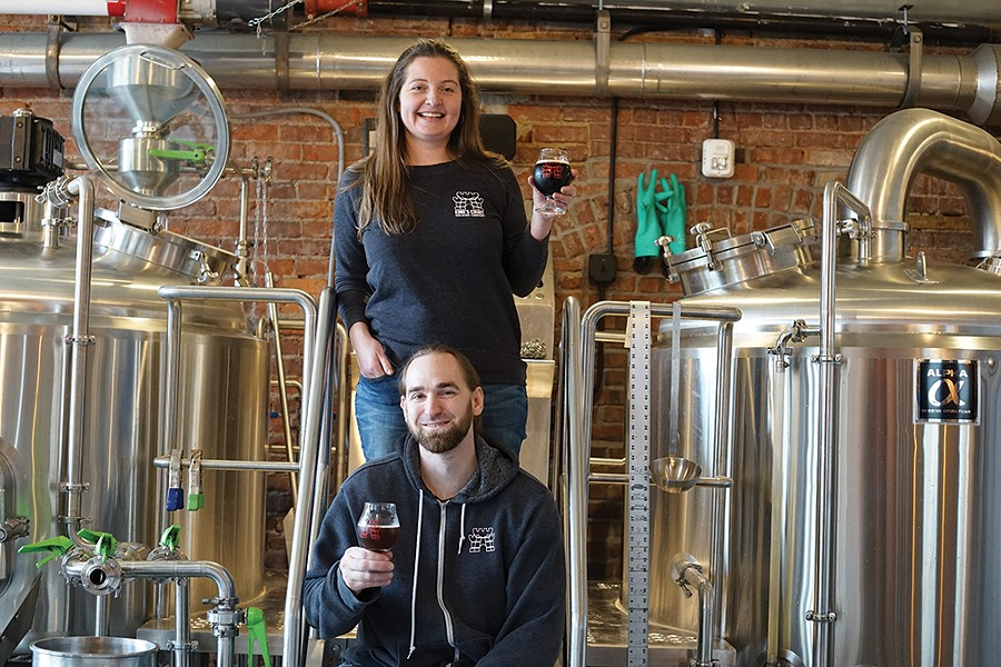 Cortlandt Toczylowski, owner and headbrewer, and Caroline Bergelin, owner, graphics and sales, at King's Court Brewing Company. - PHOTO BY JOHN GARAY