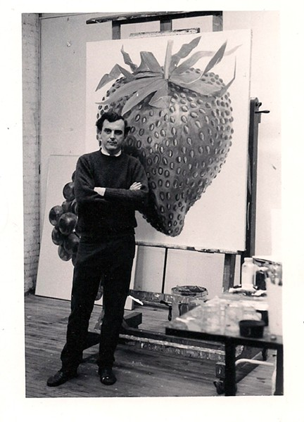 Don in his studio at 463 Broome Street in NYC in 1964 with his painting Strawberry.