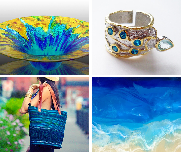 Clockwise from top left: Sand and Water Creations in Glass, Beautiful Things Jewelry, Nikita Fine Art, Natalie Rae NY.