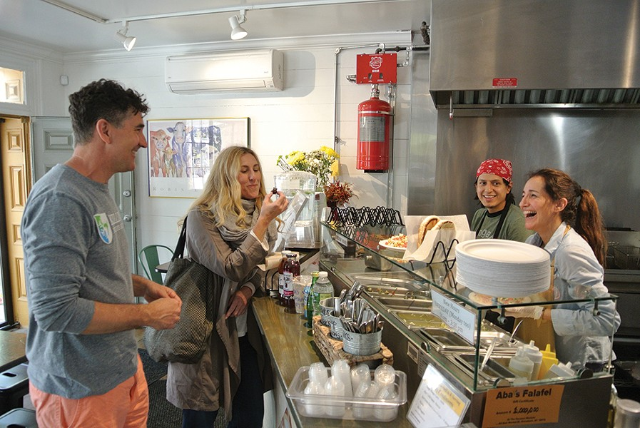 Jeff Mosher, Kelly Jones, Christian Matute, and Jacqueline Rusco at Aba's Falafel in Rhinebeck. - PHOTO: JOHN GARAY