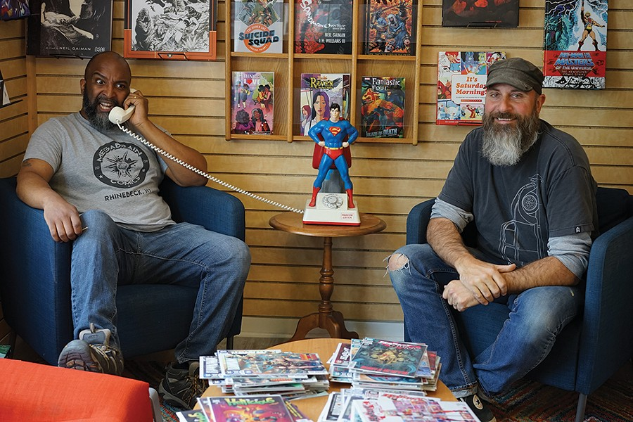 Jean Michel and Brian Tamm, co-owners of Megabrain Comics in Rhinebeck. - PHOTO: JOHN GARAY