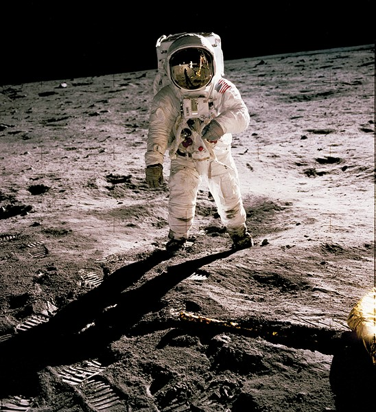 Astronaut Edwin E. Aldrin Jr. walks on the surface of the moon, July 20, 1969. - COURTESY OF THE NATIONAL AERONAUTICS AND SPACE ADMINISTRATION