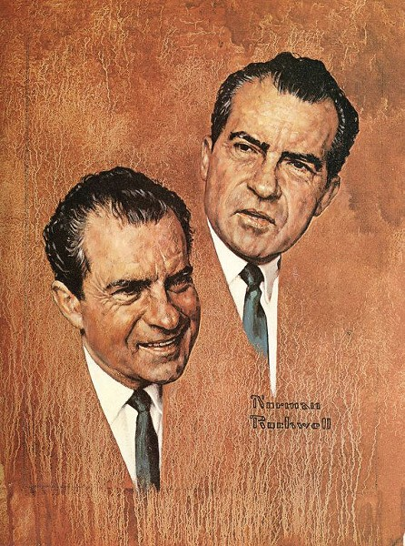 Norman Rockwell, The Puzzling Case of Richard Nixon (Portrait of Richard M. Nixon), oil on canvas, 1967. Story illustration for the March 5, 1968 issue of Look magazine. - © NORMAN ROCKWELL FAMILY AGENCY NORMAN ROCKWELL MUSEUM COLLECTION, NRACT.1973.072