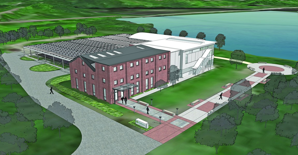 Exterior drawing of the new Clarkson facility on Denning's Point with the solar array parking structure