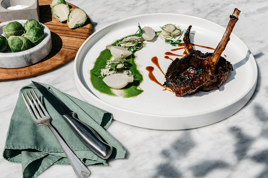 Lamb chops with smoked chili glaze at Butterfield in Stone Ridge - PHOTO BY HARRISON LUBIN