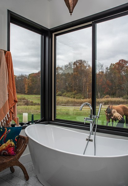 The first-floor master bathroom looks out over the fields and paddock. Outside, Schmidt's daughter enjoys some time with Chestnut. One of the home's requirements was space for the horse, who was brought over from Kerhonkson and has remained in the family. The property came with a barn, which Schmidt has been slowly renovating. - PHOTO: DEBORAH DEGRAFFENREID