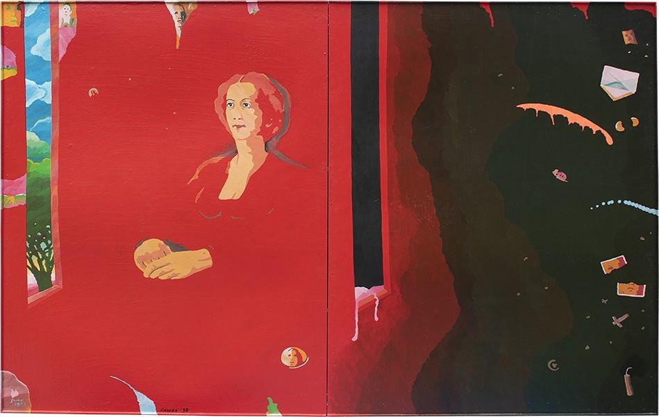 "Passing Away, acrylic and varnish on Masonite, 66"" x 96"", 1988. - PHOTO: CAMILLE MURPHY"