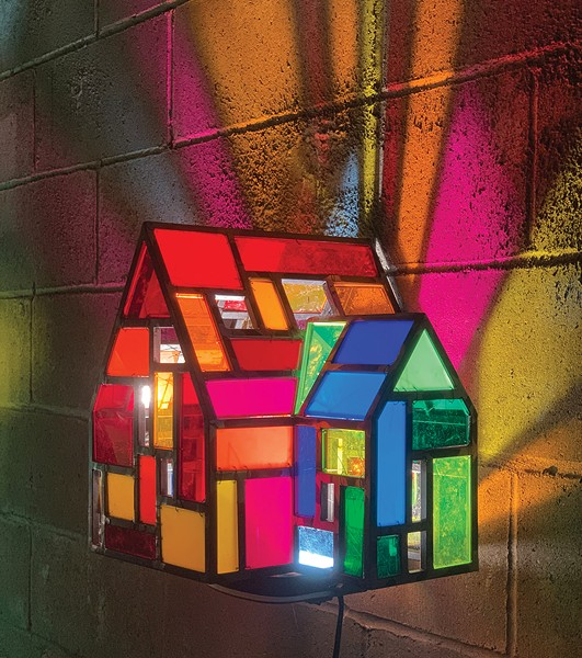Addition House, Tom Fruin, welded steel, reclaimed plexiglass, wire.