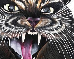 Meowcifur, Monik Geisel, oil on canvas, 3' x 3', 2021