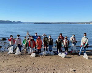 A Sweep volunteer group cleans up the shoreline in Ossining