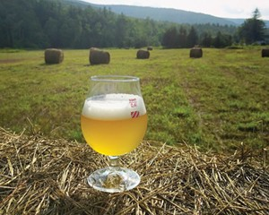 A glass of Leona Saison from West Kill Brewing.