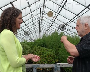 Jen Metzger talking with George Sewitt of NY Hemp Source LLC inside a CBD greenhouse at Rogowski Farm in Goshen in 2019. During her tenure in the Senate, Metzger was chair of the Agricultural Committee and instrumental in creating the regulatory framework for CBD products in New York State.