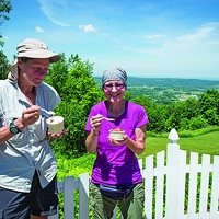 Black Dirt Beauties Appalachian Trail Thru-Hikers at Bellvale Farms Creamery in Warwick. Christine Ashburn
