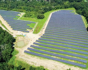 Arial photo of ForeFront Power's Mechanicville Community Solar project