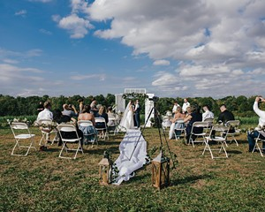 Heather Kunkel and Cherie Davis at their backyard wedding in Dutchess County in late September.