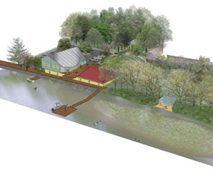 An architectural rendering of Arm-of-the-Sea's proposed Tidewater Center in Saugerties.